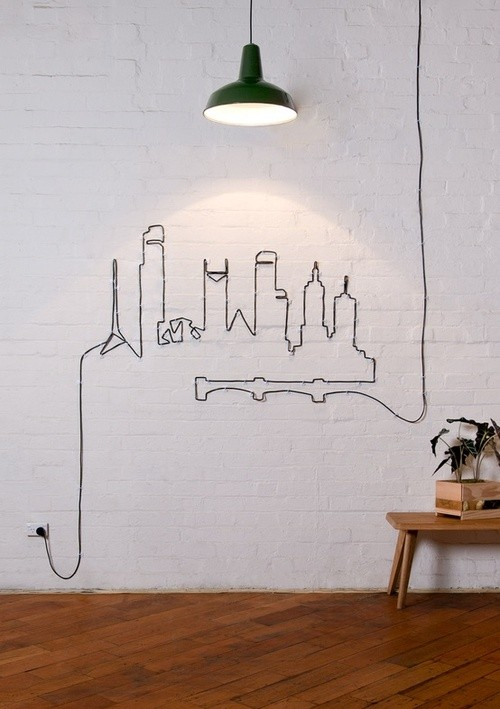 decora tu pared con el cable de la lampara