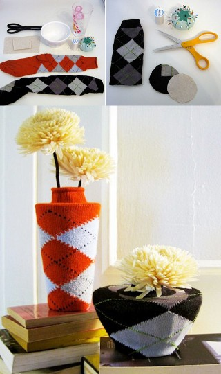 decorar-jarrones-reciclar-calcetines-DIY-muy-ingenioso-1