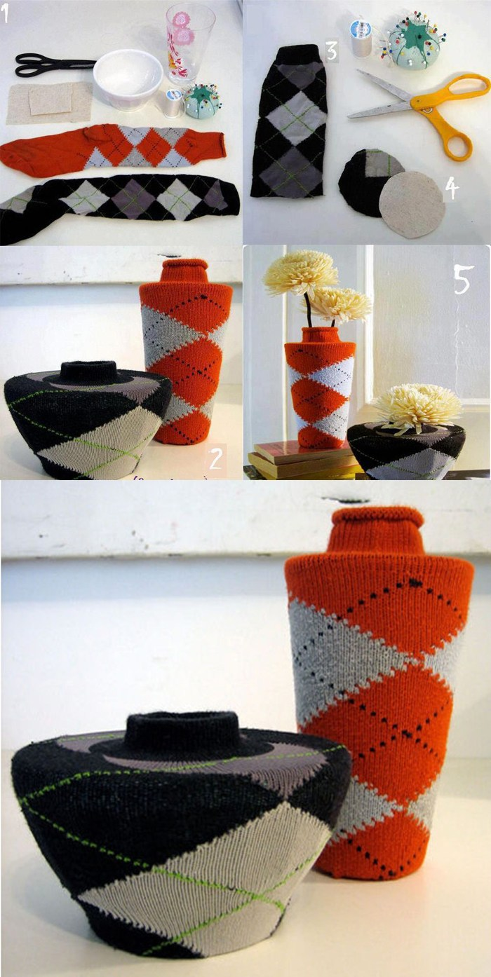 decorar-jarrones-reciclar-calcetines-DIY-muy-ingenioso-2