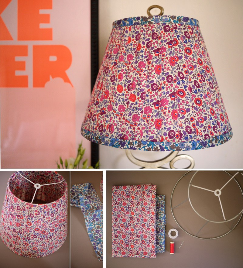 Lámpara DIY con tela estampada