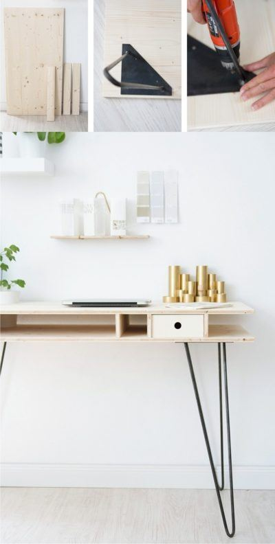 Mesa escritorio con tablas y pies hairpin