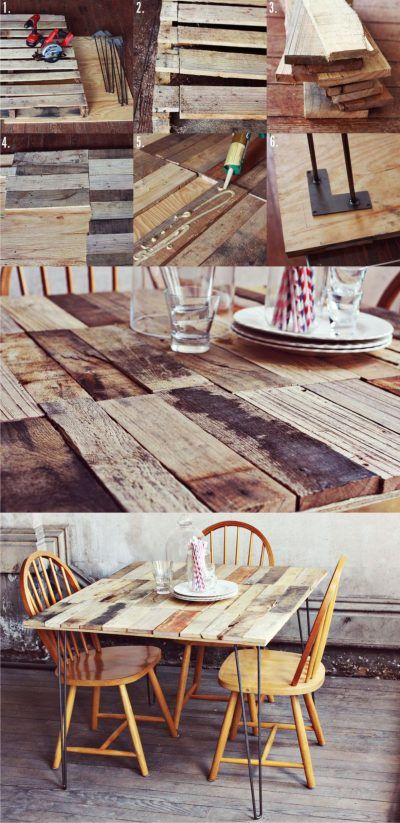 Mesa con tablas y pies hairpin