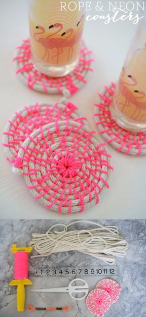 Posavasos DIY color neón