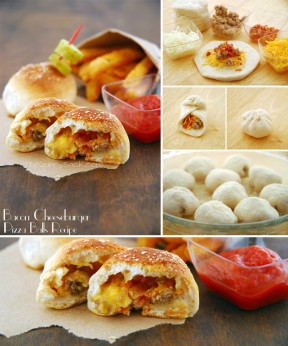 Pizza-balls de hamburguesa, queso y bacon