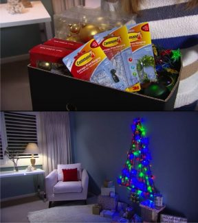 Árbol navideño de pared con luces
