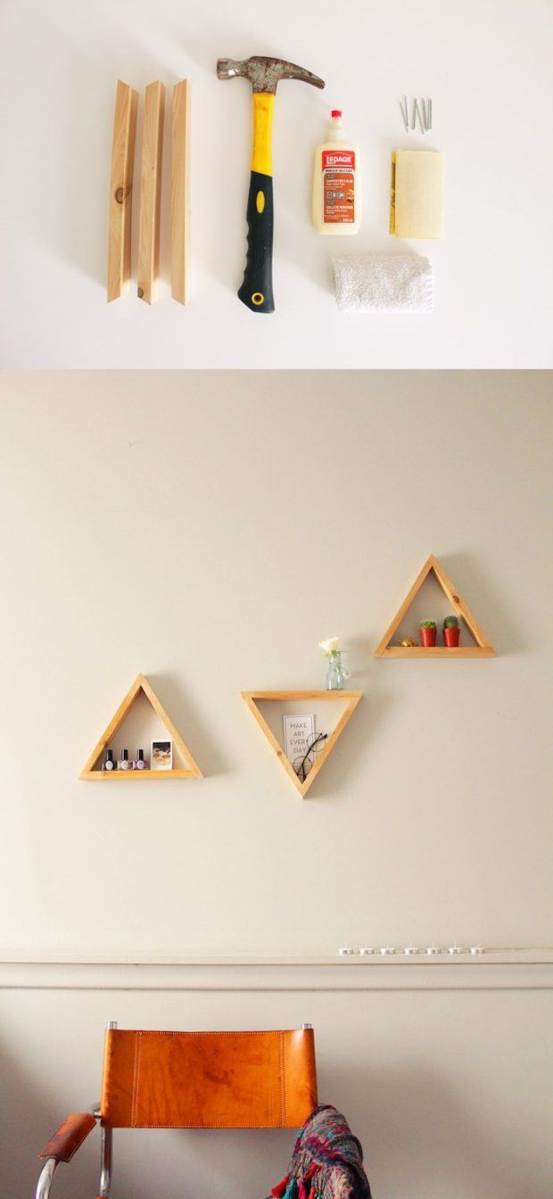 Estantes triangulares DIY