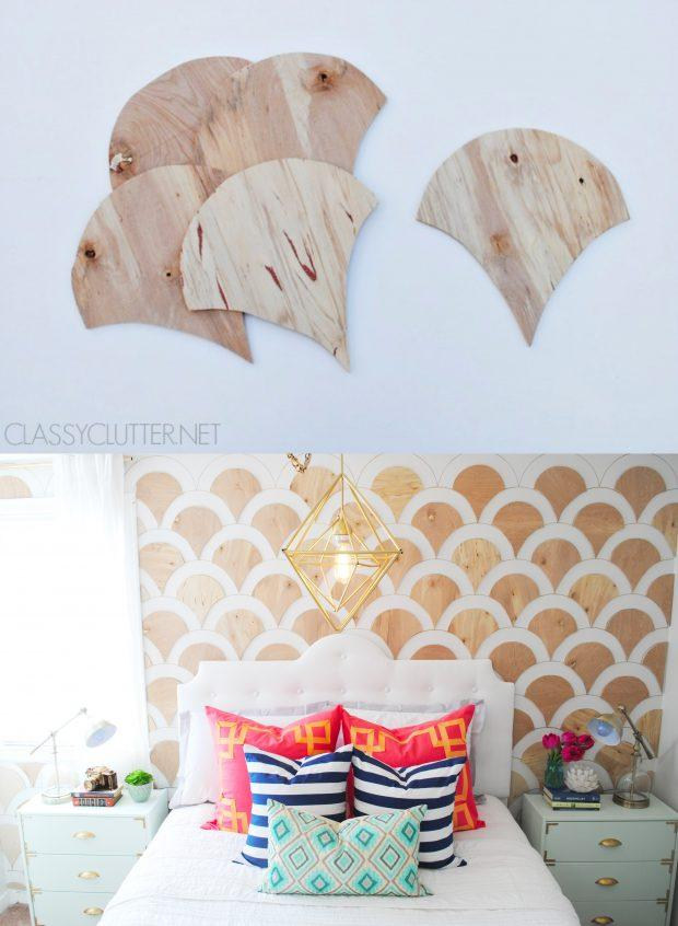 Pared DIY con paneles de madera